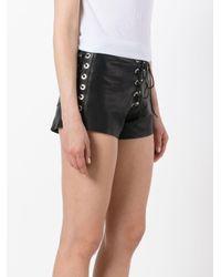 Manokhi Black Textured Lace-up Shorts
