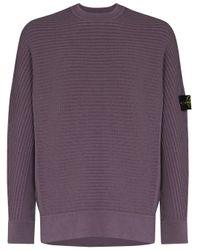 メンズ Stone Island リブウールブレンドセーター Purple