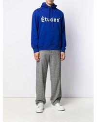 メンズ Etudes Studio プリント ロゴ パーカー Blue