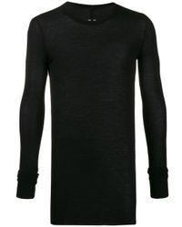 Rick Owens Black Fitted Round-neck Sweatshirt for men