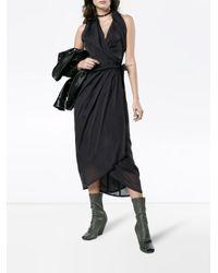 Rick Owens Gray Sleeveless Wrap Dress