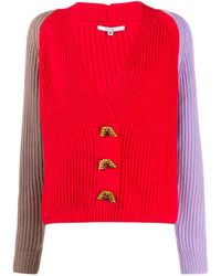 Cardigan con design color-block di Olivia Rubin in Red