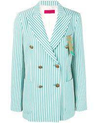 The Gigi Green Striped Buttoned Jacket