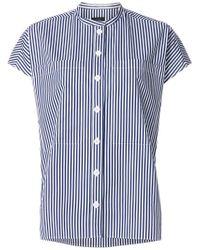 Joseph White Striped Short Sleeve Shirt