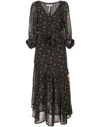 Apiece Apart Black Bouganvillea Silk Wrap Dress