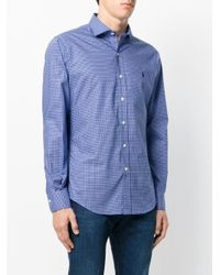 Polo Ralph Lauren - Blue Micro Check Collared Shirt for Men - Lyst