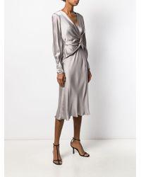 Alberta Ferretti Gray Twist-front Dress