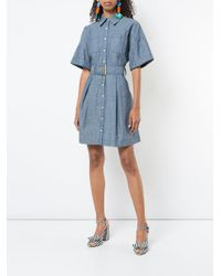 Diane von Furstenberg Blue Belted Chambray Dress