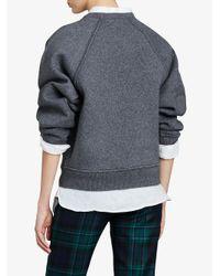 Burberry - Gray Intarsia Logo Sweater - Lyst
