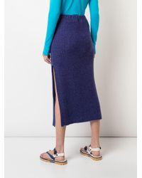 The Elder Statesman Purple Side Slit Midi Skirt