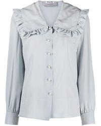 Miu Miu Blue Ruffle Collar Silk Blouse