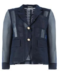 Thom Browne Blue Back Lace-up Sheer Blazer