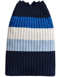 Burberry - Blue Cashmere Striped Beanie - Lyst