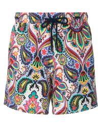 Etro - Blue Mixed Paisley Print Swim Shorts for Men - Lyst