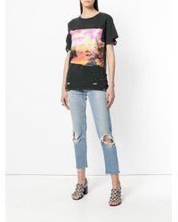 DIESEL - Black Deconstructed Printed T-shirt - Lyst