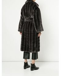 Goen.J - Gray Oversized Faux-fur Coat - Lyst