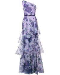 Robe asymétrique à fleurs Marchesa notte en coloris Purple
