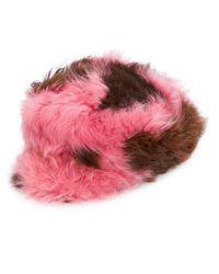 Prada - Pink Combined Shearling Cap - Lyst