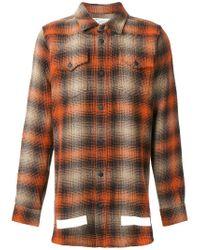 Off-White c/o Virgil Abloh - Orange Oversized Plaid Shirt for Men - Lyst