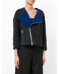 Astraet - Blue Zip Up Cropped Coat - Lyst