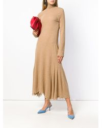 Jil Sander Natural Frayed Knit Dress