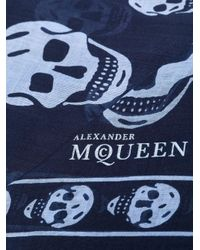 Alexander McQueen スカルプリント スカーフ Blue