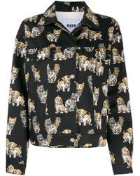 Джинсовая Куртка С Принтом MSGM, цвет: Multicolor
