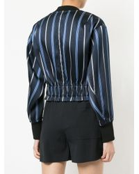 3.1 Phillip Lim - Blue Zipped Striped Bomber Jacket - Lyst