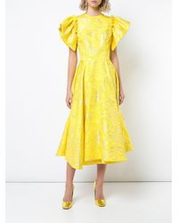 Christian Siriano Yellow Flared Midi Dress