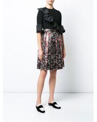 MSGM Black Pleated Jacquard Skirt