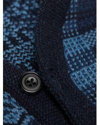 メンズ Beams Plus パッチワーク Vネックカーディガン Blue