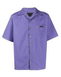 メンズ Prada コントラストステッチ シャツ Purple