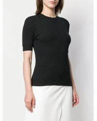 Courreges リブ トップ Black