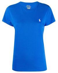 Camiseta con logo bordado Polo Ralph Lauren de color Blue