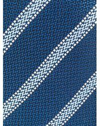 メンズ Canali ストライプ シルクネクタイ Blue