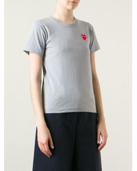 Play Comme des Garçons Gray Embroidered Heart T-shirt