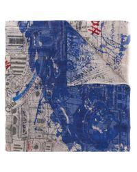 Faliero Sarti プリント スカーフ Blue