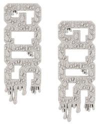 Gcds Gray Logo Glittered Earrings