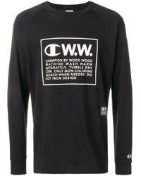 T-shirt a maniche lunghe di Champion in Black da Uomo