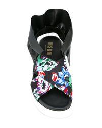 MSGM Women's Black Leather Sandals