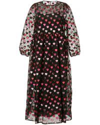 Vivetta Black Zille Hearts Fil Coupé Midi Dress