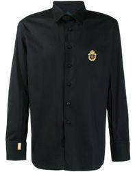 Camisa con logo bordado Billionaire de hombre de color Black