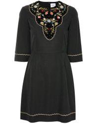 Vilshenko Black Embroidered Floral Dress