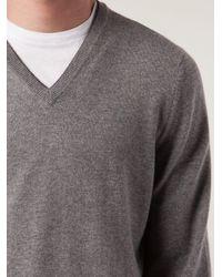 メンズ Brunello Cucinelli Vネック セーター Gray