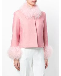 Saks Potts Pink Fur-cuff Fitted Jacket