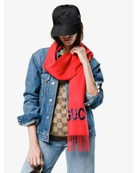 Gucci Guccy スパンコール スカーフ Red