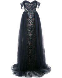 Marchesa Blue Off The Shoulder Gown
