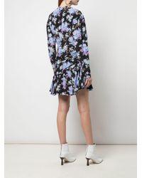 Les Rêveries Black Minikleid mit Blumenmuster
