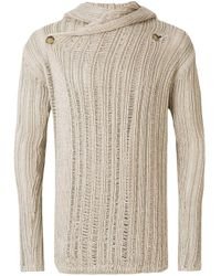 Rick Owens Natural Wrap Front Open Knit Hooded Cardigan for men