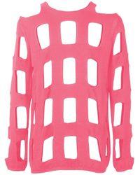 Comme des Garçons Trui Met Rasterpatroon in het Pink voor heren